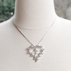 Jewelry - Sterling Silver & CZ Vine/Heart Necklace